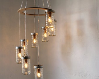 Mason Jar Chandelier, Spiral Waterfall Mason Jar Lighting Fixture With 8 Quilted Pint Jars, BootsNGus Rustic Modern Home Lighting & Decor