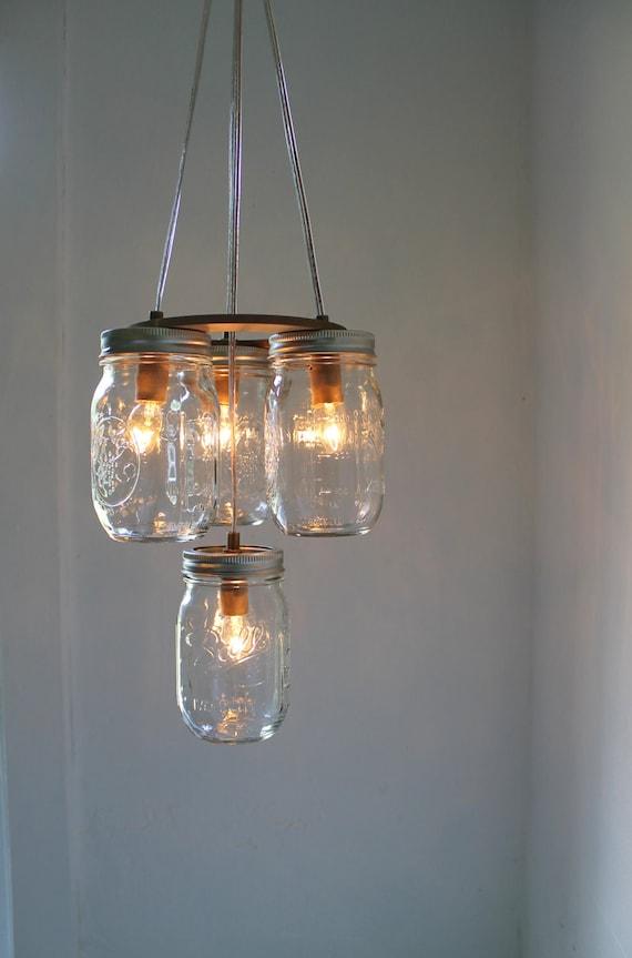 Mason Jar Chandelier - Mason Jar Light - 2 Tier - Modern Industiral Swag - Handcrafted Upcycled BootsNGus Hanging Pendant Lighting Fixture