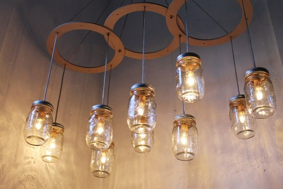 Mason Jar Chandelier, BootsNGus Handcrafted Canopy Mason Jar Lighting Fixture, Modern Country Home Hanging Light, Rustic Wedding Lighting