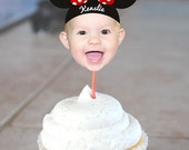 DIY Minnie Mouse Inspired Photo Cupcake Toppers - Color Coordinated with your Party Scheme (Digital File)