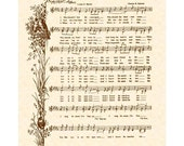 His Eye Is On The Sparrow Hymn - Hymn Art - Custom Christian Home Decor - VintageVerses Sheet Music - Inspirational Wall Art - Sepia Brown