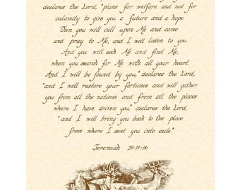 JEREMIAH 29:11-14 --- 11 X 14 Calligraphy Art Print On Parchment
