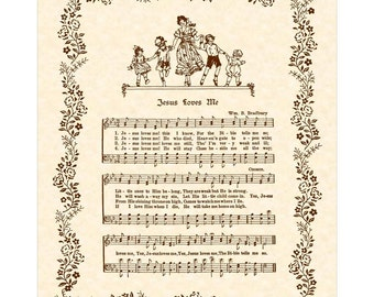 JESUS LOVES ME - Hymn Art - Wall Art - Christian Nursery Decor - Home & Office Decor - Vintage Verses Sheet Music - Inspirational Art - Sale