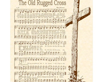 OLD RUGGED CROSS --- 8 x 10 Antique Hymn Art Print on Parchment