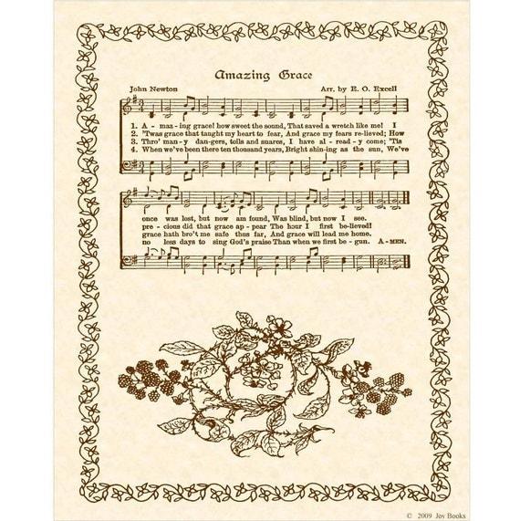AMAZING GRACE Hymn Art Custom Christian Home Decor VintageVerses Sheet Music Inspirational Wall Art When We've Been There Ten Thousand Years