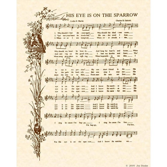 His Eye Is On The Sparrow Hymn - Hymn Art - Custom Christian Home Decor - VintageVerses Sheet Music - Inspirational Wall Art - Sepia Brown