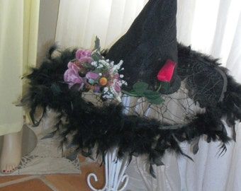 Handmade Orig Design Goth Lace Black Witches Hat Black  Feathers Silk Flowers Faux Fruit Red Rose