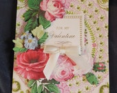 Handmade Card - For My Valentine - Great Floral 3D Embellishment - Satin Ribbon - FREE Shipping