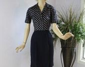 Vintage 40s Day Dress Navy Polka Dot Silk Rayon  Afternoon Dress