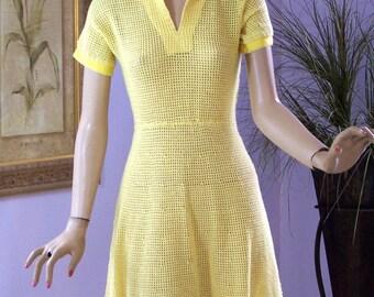 Vintage 40s Dress Hand Crochet Yellow Garden Party Dress
