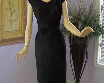 Vintage 60's Dress Sexy Black Cocktail Party Ribbon Brocade Long Dress
