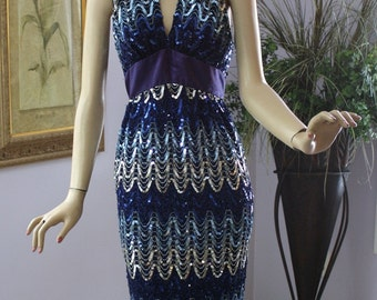 Vintage 70s Halter Dress Mike Benet Royal Blue Sequin Formal  Prom Party Long Dress