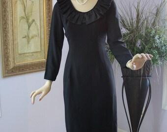 Vintage 60's Dress Classic Style Crepe w Black Satin Ruffle Collar Dinner Evening