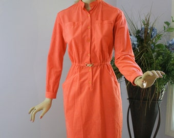 Vintage 60s Dress Coral Brushed Poly Suede Fitted Secretary Day Dress by California Girl