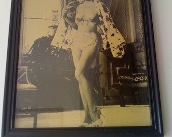 """Vintage Rare Marilyn Monroe Publicity Still """"Somethings Got To Give"""" B/W 8x10 Glossy with The Original Vintage Black Metal Frame - c1962"""