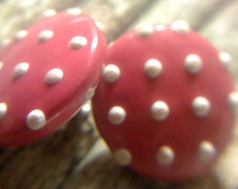 Closeout Sale Vintage 1950s Mod Polka Dot Leather Button Earrings Electric Hot Pink and White