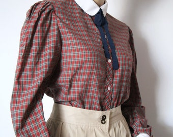Blouse Vintage Plaid Blouse 1970s Red Plaid Prairie School Girl Long Sleeved Button Front Shirt Boho Top Red Checkered