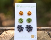 Goldenrod Mustard Yellow Rose Earrings // Green Daisy Earrings // Purple Lily  Earrings // Bridesmaid Gifts