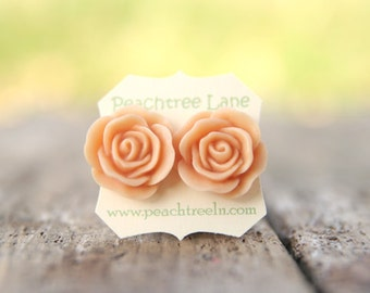 Large Peach Rose Flower Stud Earrings // Bridesmaid Gifts // Outdoor Rustic Wedding // Bridal Shower Gifts