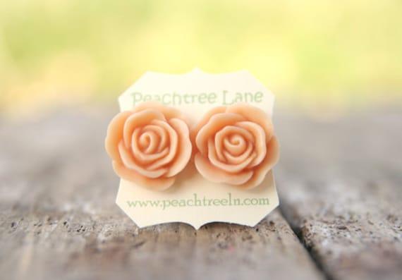 Bridesmaid Jewelry Large Peach Rose Flower Stud Earrings // Bridesmaid Gifts // Vintage Wedding //  Rustic Barn Wedding