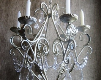 Large Queen Dancing Creek Candle Chandelier in Butter Cream with Clear Drops MADE TO ORDER