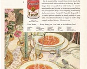 1930 ad Campbell's Soup illustration Guy Rowe Giro with Hellmann's Mayonnaise on back retro kitchen decor for framing - Free U.S. shipping