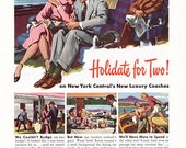1948 ad New York Central railroad train Holidate for Two vintage travel - Free U.S. shipping