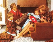 Vintage postcard 1970s Happy Family with Log and Bathrobes cozy fireplace scene with Dad smoking a pipe - retro fun card - Free USA shipping