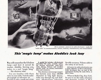 1948 ad RCA Electron Tube retro radio electronics technology vintage science communications for framing black and white - Free U.S. shipping