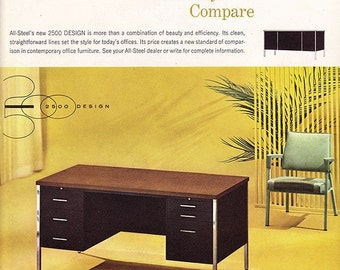 Vintage ad ALL-STEEL DESK 2500 Design early 1960s office Midcentury Modern Mad Men retro fun wall decor for framing  - Free U.S. shipping