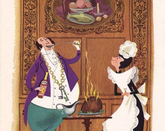 Vintage Butler and Maid illustration page by Alice and Martin Provensen - charming to frame for kitchen or dining room - Free U.S. shipping