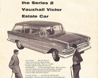 1959 ad Vauxhall Victor Series 2 Estate Car advert Mad Men era retro automobilia saloon wagon auto classic for framing - Free U.S. shipping