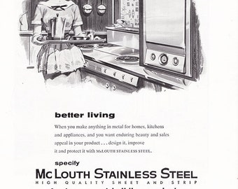 1958 ad McLouth Stainless Steel kitchen retro Midcentury Modern cute housewife wall decor for framing gray black white - Free U.S. shipping