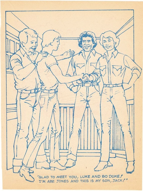 Items Similar To Coloring Book Page Dukes Of Hazzard Bo Color Page Dukes Of Hazard General