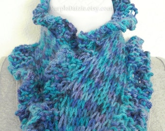 Knitting Pattern Scarf Tutorial Scarflett Pattern Easy Beginner Knitting Ruffle Edge Scarf Sell What You Make PDF File Instant Download