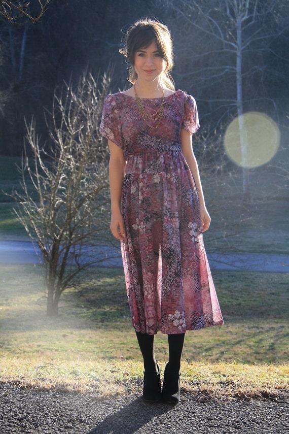 1970s Sheer Chiffon Floral Dress