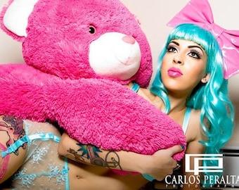 Giant bubblegum pink PVC latex hair bow