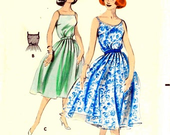 UNCUT * Vintage 50's  Sewing Pattern Butterick 8601 -  LOVELY Bare Camisole  Neckline Sun Dress with Dancing Skirt - size 12/32