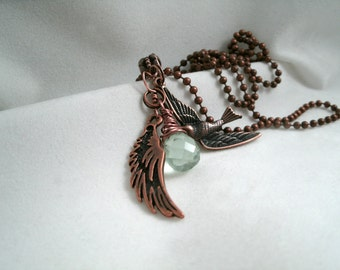 Wire wrapped Faceted Quartz  Pendant Bird Necklace with  antique copper Feather and  Chain