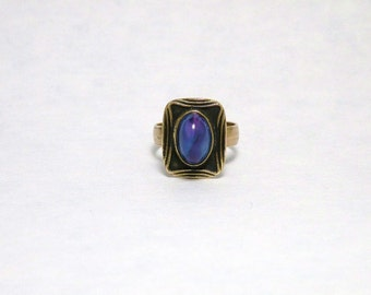 Art Deco Style Ring with Blue Stone and Bronze Band Handmade One of a Kind Finger Ring Adjustable Size 6 to 8