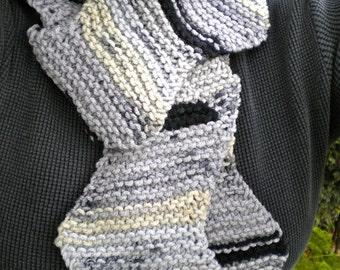 Scarf Gray & Black Zig Zag Knit Stormy Sky