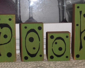 Spooky Blocks Halloween Bright Green Glitter Set of Six Wood Decoration Halloween Blocks