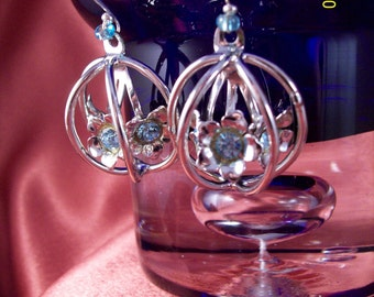 SALE-Upcycled Blue Rhinestone Flower Cage Dangle Earrings