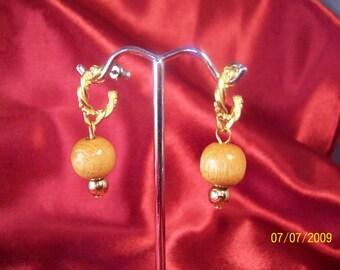 Vintage Wooden Bead Dangle Hoop Earrings