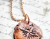Compass Rose Pendant- Antique Wax Seal Necklace with Nautical Theme in Copper