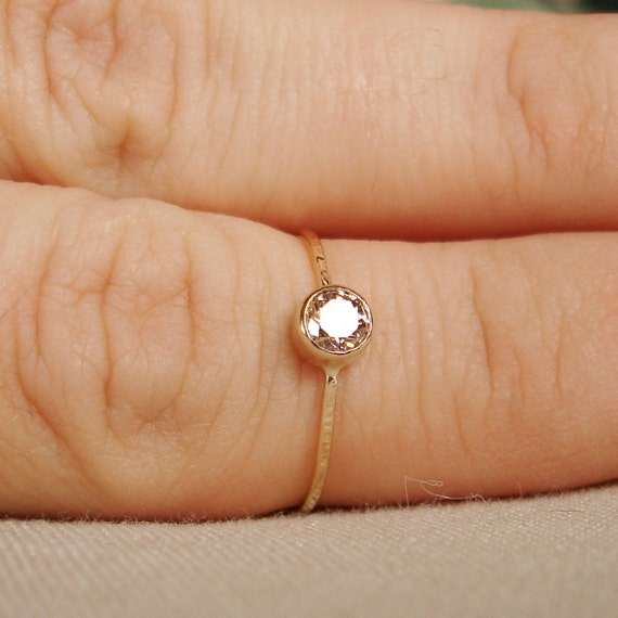 Choose a Stone - Sparkling Thread of Gold - One Hammered Stacking Ring with 14k Gold Set Faceted Stone - Delicate Jewelry