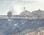 Whales at the Coast Print 11x14