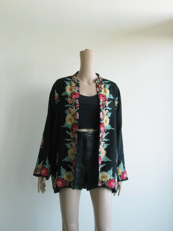 60s 70s Black Wool Jacket Floral Sweater Jacket Embroidered Boho