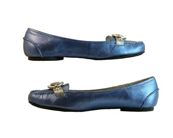 Ballet Flats Loafers Metallic BLUE and Silver Loafers w Vintage Rhinestones // Size 10 M Calvin Klein Leather w Silver  // Preppy Geeky Fun