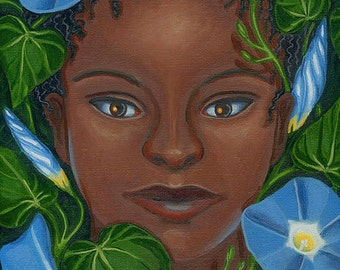 Girl of the Morning Glories original oil painting heavenly blue flowers Ipomoea garden spirit fine art framed Unique Gift - Free US shipping